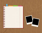 Notebook page design and photos on wooden background — Stock Vector