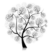 Art tree silhouette on black for your design — Stock Vector
