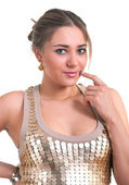 Women in a golden dress — Stock Photo