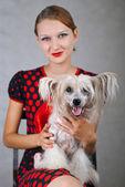 Perro y niña hermosa — Foto de Stock