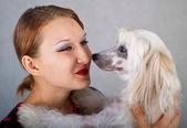 Menina e cão de crista chinês — Foto Stock