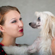 Girl and dog — Stock Photo #3778705