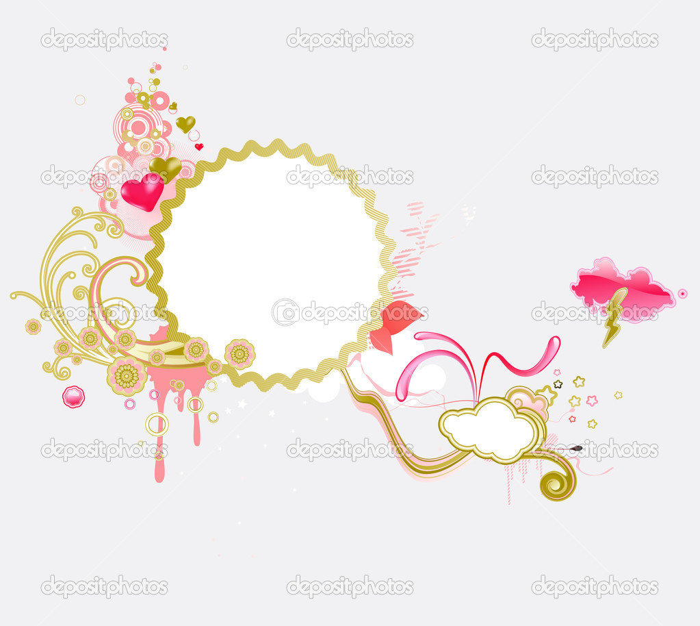 Illustration of retro styled design frame made of floral elements and funky hearts  Stock Photo #3880767