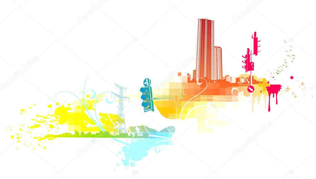 Illustration of funky abstract background made of urban and floral elements.  — Stock Photo #3899555