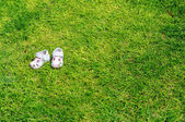 White children's sandals — Stock Photo
