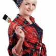 Charming blonde painter - Stock Photo