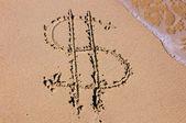 Word på golden sand — Stockfoto