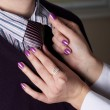 Hands correct a tie on the man — Stock Photo