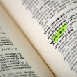 Word selection in the dictionary - Stock Photo