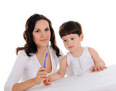 Young mother and the boy — Stock Photo