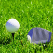 Ball and golf clubs - Stockfoto