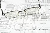 Ritningar av byggnad — Stockfoto