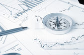 Graphs and charts with compass. — Stock Photo