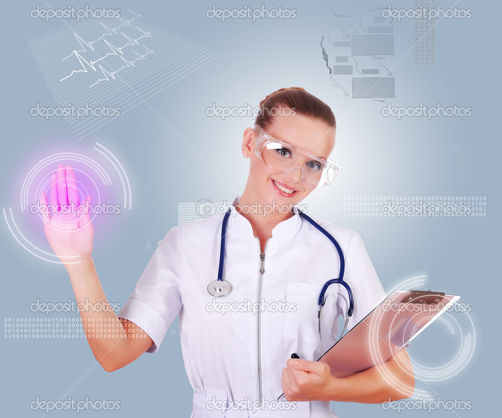 Young doctor in white uniform, transparent glasses and a stethoscope clicks on virtual buttons. Collage. — Stock Photo #3524865