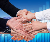 Handshake on an abstract background. — Stock Photo
