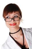 Mulher de negócios morena encantadora — Fotografia Stock