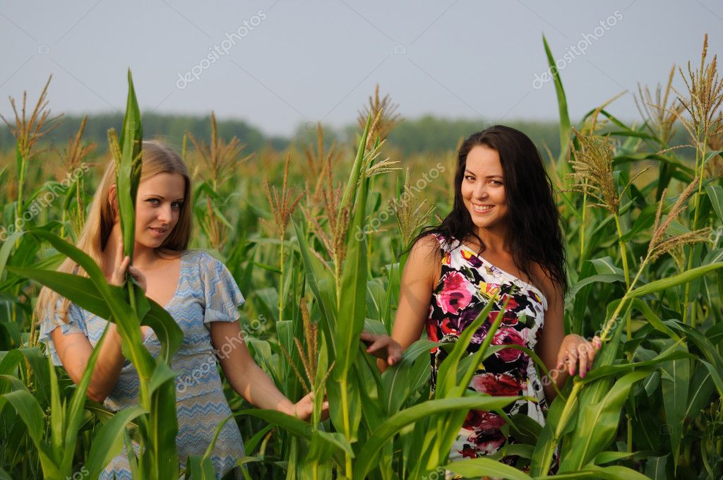 Young girl on a background of green maize and blue sky — Stock Photo #3632666