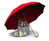 Little house with umbrella — Stock Photo
