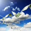 Dollar bills fly in flocks — Stock Photo