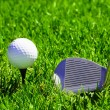 Ball and golf clubs - Stock Photo