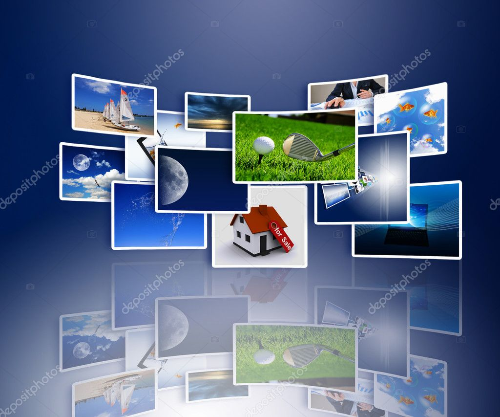 Streams of images symbolizing the new technology and media environment — Stock Photo #3700610