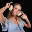 Young girl with headphones — Stock Photo #3739210