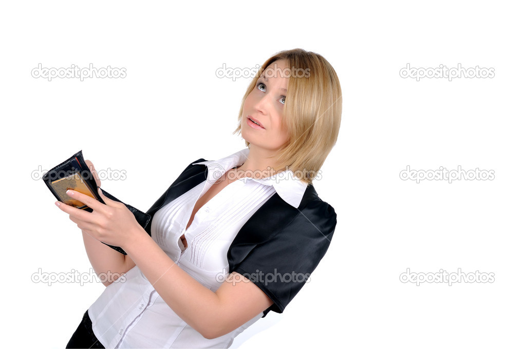Young business woman with a wallet in the hands isolated on white background — Stock Photo #3965581