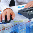 Charts, diagrams, documents on the desktop - Stock Photo