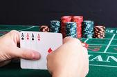 Placez un joueur de poker — Photo