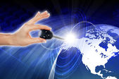 Hands, line, planet earth — Stock Photo