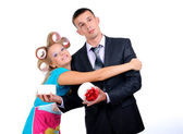 Housewife and her husband — Stock Photo