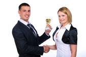 Young business man presents his gift — Stock Photo