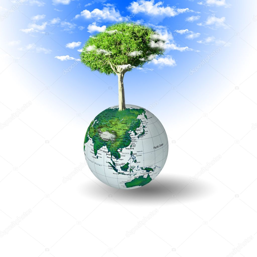 Hands and Earth. Symbol of environmental protection — Stock Photo #4114931