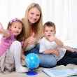 Young mother, her daughter and young son — Stock Photo