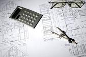Desenhos de construção — Fotografia Stock