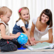 Stock Photo: Young mother, her daughter and young son