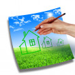 Hand drawing a house — Stock Photo
