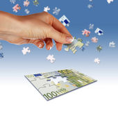 Puzzle of the euro banknotes — Stock Photo