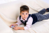 Little boy playing video games — Stock Photo