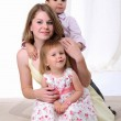 Mom, her son and her little daughter — Stock Photo