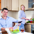 Wife and husband have breakfast — Stock Photo
