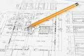 Tekeningen van gebouw — Stockfoto