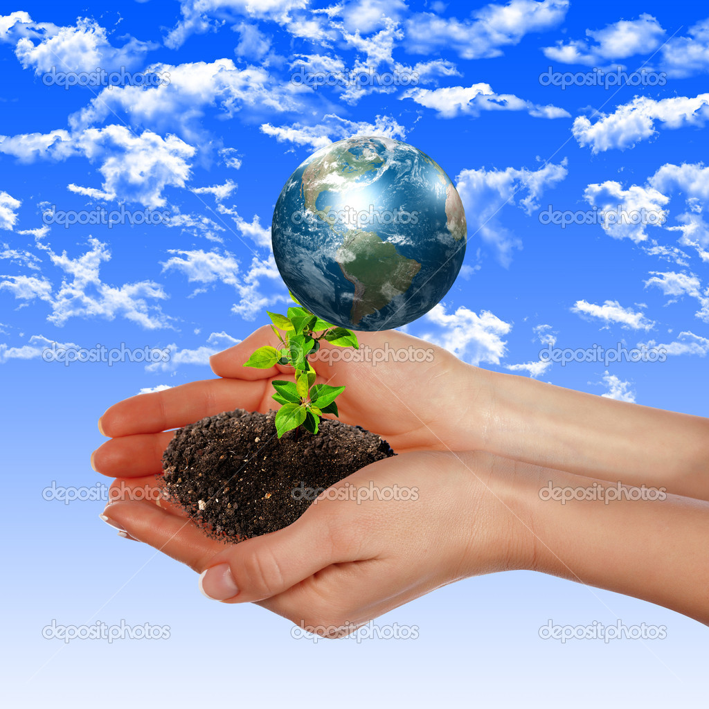 Hands and Earth. Symbol of environmental protection — Stock Photo #4174104