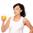 Young pregnant woman drinking orange — Stock Photo
