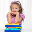 Little girl is studying literature — Stock Photo