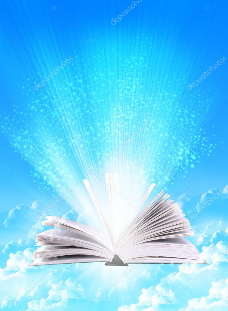 Magic book on a  background with the lines and lights  Stock Photo #4230826
