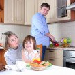 Family has breakfast in the kitchen — Stock Photo