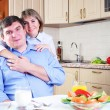 Couple has breakfast together - Stock Photo