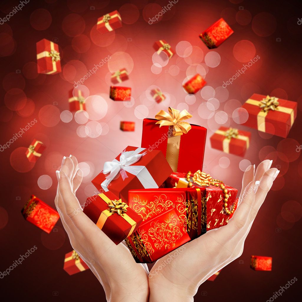New abstract background with his arms and gifts. Happy New Year and Merry Christmas! — Stock Photo #4252284