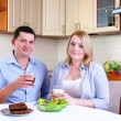 Wife and husband have breakfast — Stock Photo #4277712